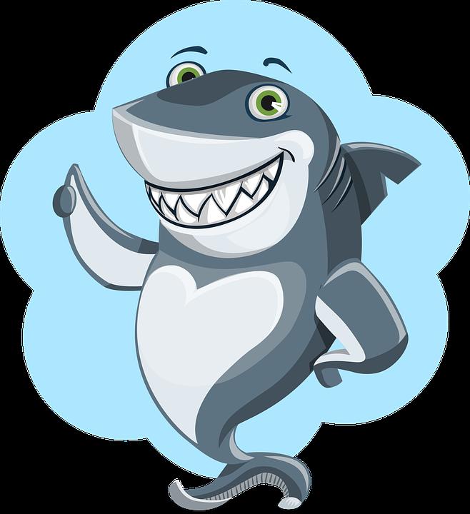 Shark, Animal, Character, Cute, Ocean, Underwater, Blue