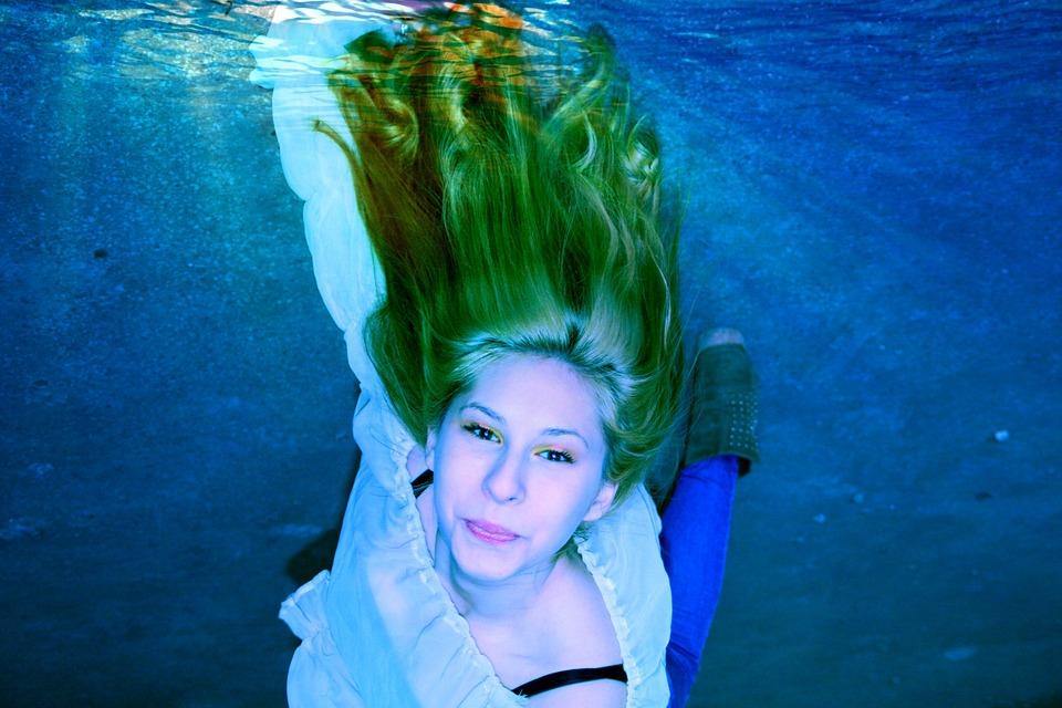 Girl, Underwater, Water, Swim, Blue