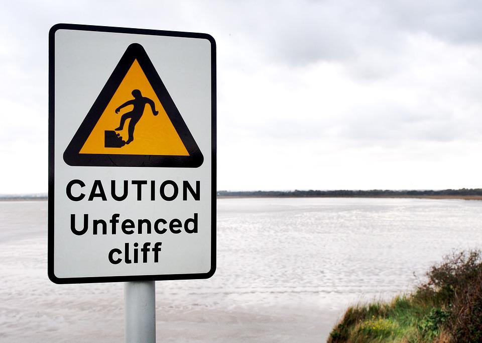 Caution, Unfenced, Cliff, Danger, Hazard, Peril, Risk