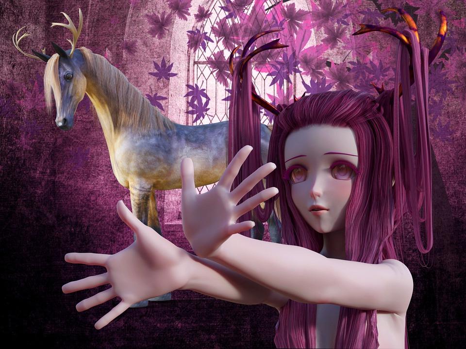Fee, Fantasy, Horse, Unicorn, Antler, Fairy Tales