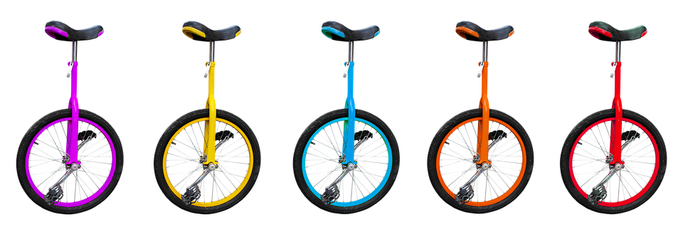 Sport, Bike, Unicycle, Saddle, Pedals, Mature, Isolated