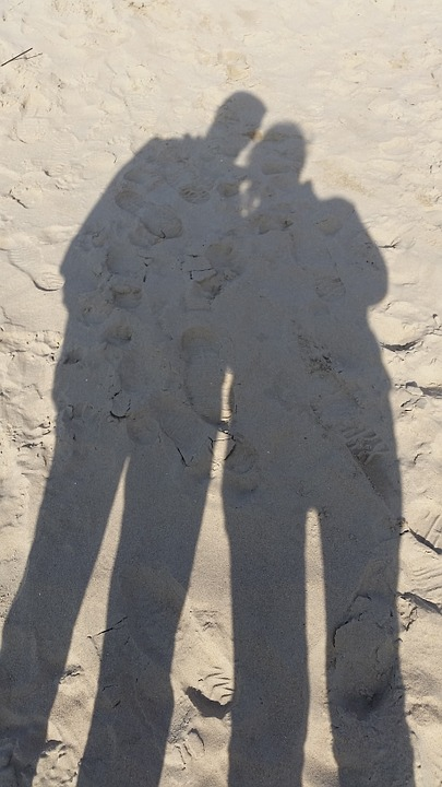 Shadow, Couple, Union, Sand, Beach