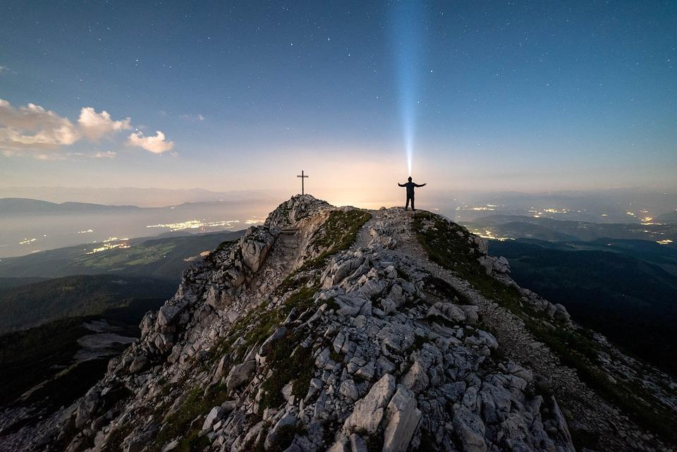 Mountains, Man, Cross, Stars, Starry Sky, Universe