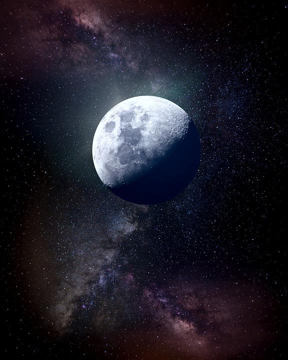 Moon, Space, Universe, Planet, Galaxy, Sky, Stars