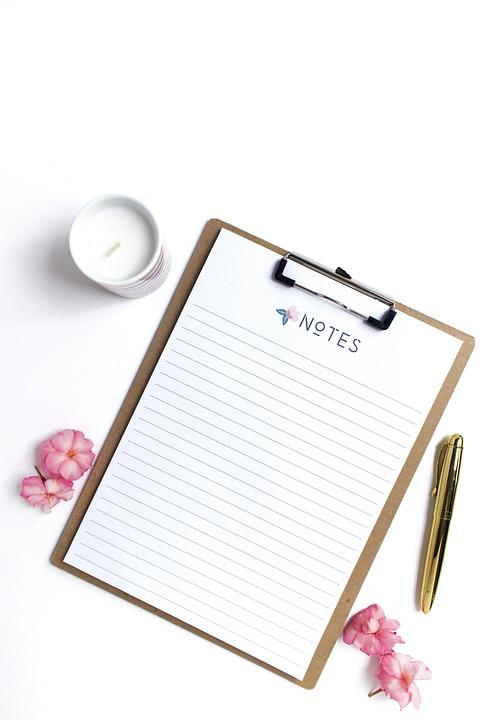 Empty Note, Pen, Latte, Update, Blog Stock