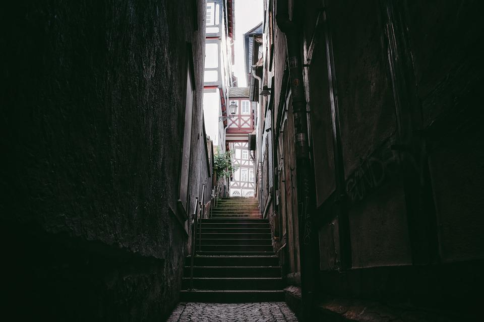 Stairs, Alley, Downtown, Urban, Town