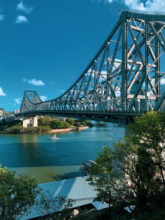 Bridge, Architecture, Structure, Urban, River, Trees