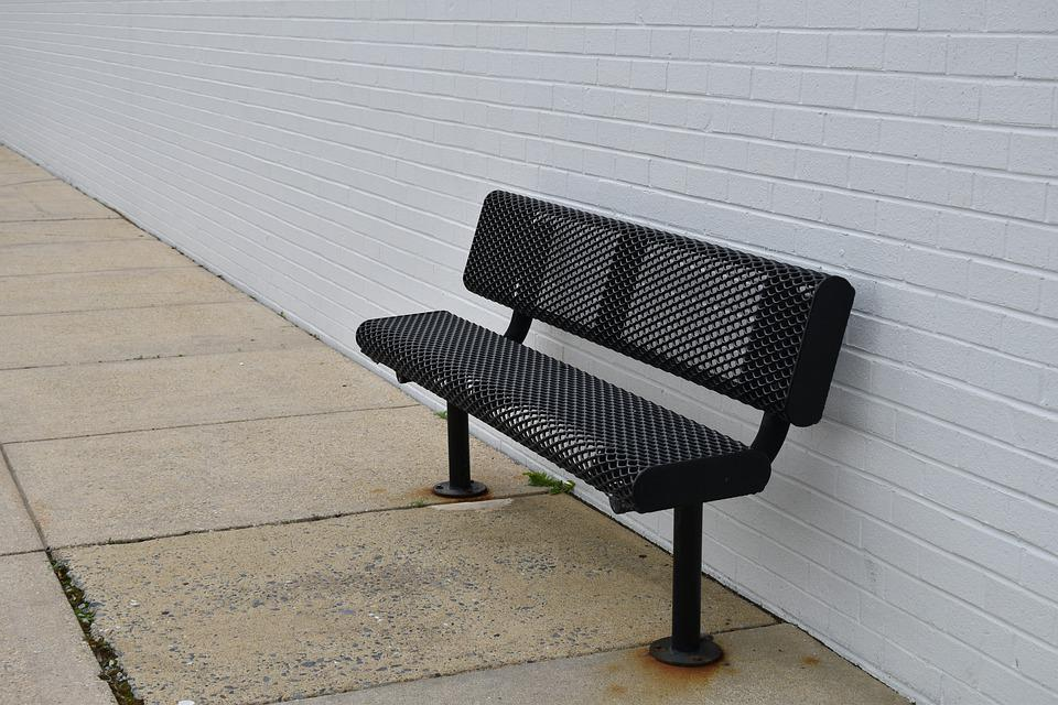 Bench, Urban, Park, Concrete, Brick