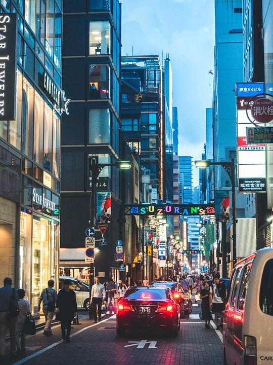 Tokyo Street, City, Urban, Evening, Crowd, Neon