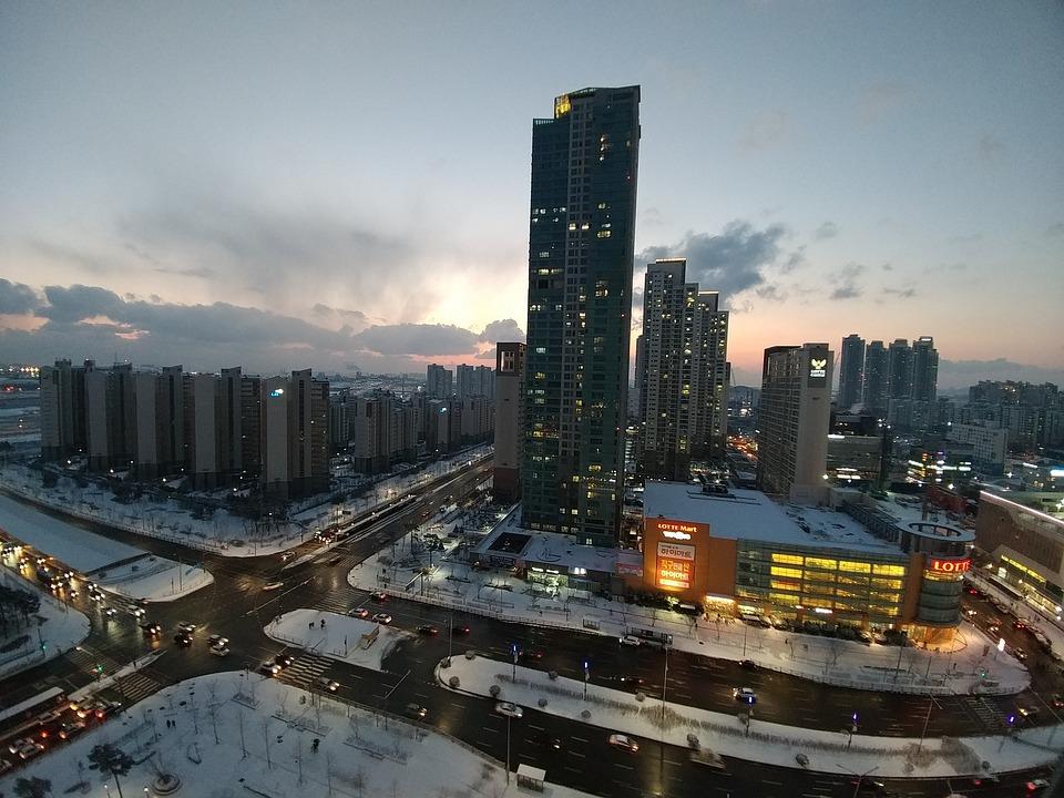 Cheongna, Incheon, Winter, City, Cityscape, Urban