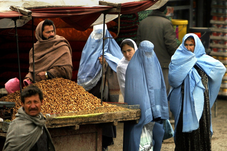 Afghanistan, Women, Man, Market, Goods, Urban, Village