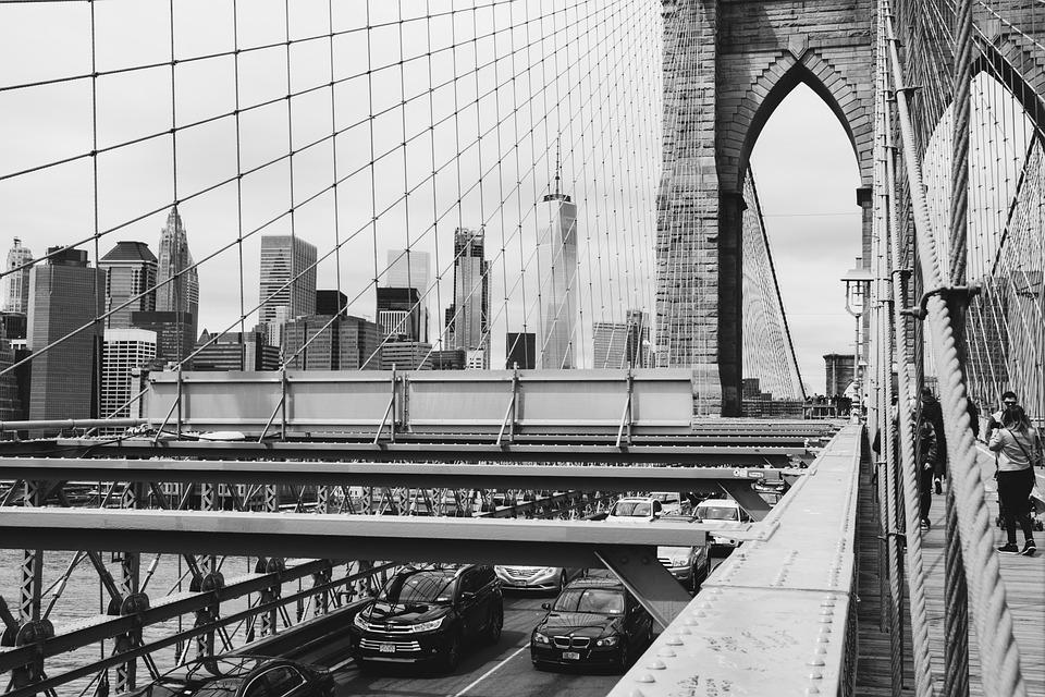 Bridge, Sidewalk, Urban, Traffic, Road, Brooklyn Bridge