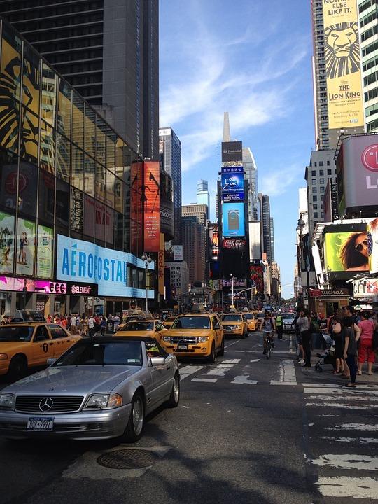Time Square, Street, Cars, City, New York, Urban