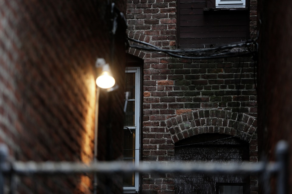 Bricks, Walls, Urban, Lamp, Night, Light, House