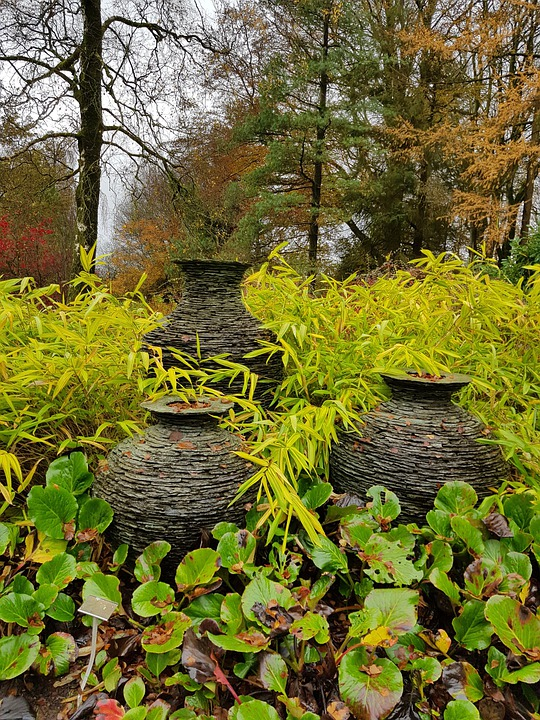 Garden, Urns, Ornamental, Plants, Slate, Decorative