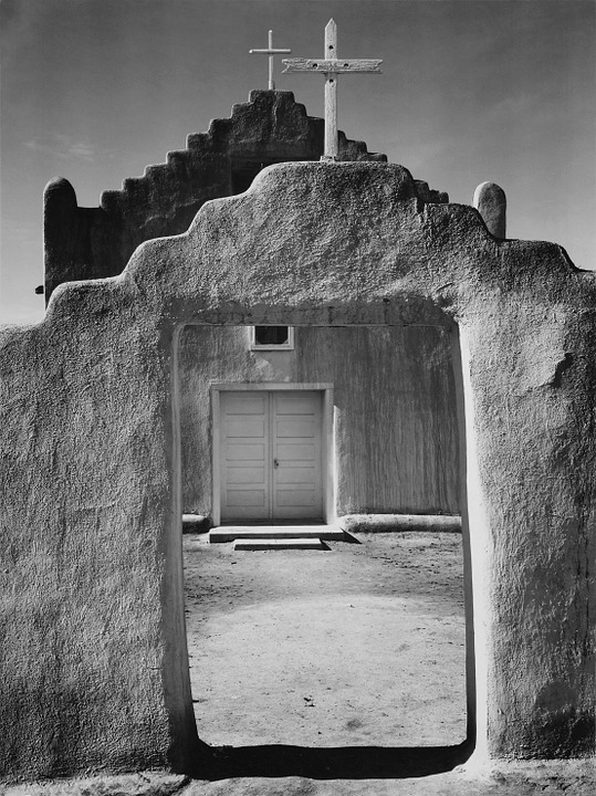 Church, Desert, Arizona, Usa, Black And White, Adobe