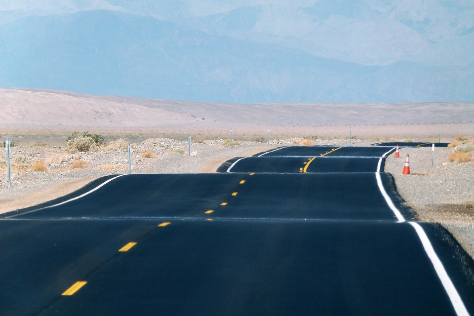 Paved Road, Death Valley, California, Usa