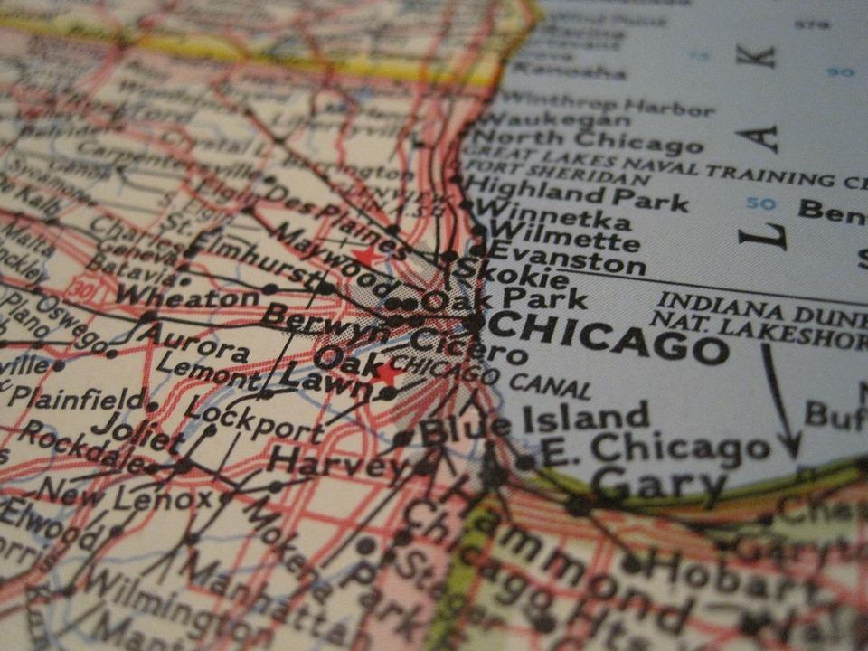 Chicago Map Close Up Usa America Illinois