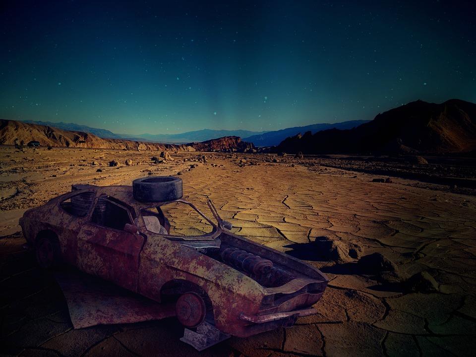 Desert, Car Wreck, Usa, Arizona, Auto, Wreck, Rusted