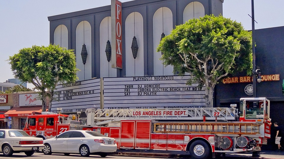 Usa, Los Angeles, Fire Truck, Road