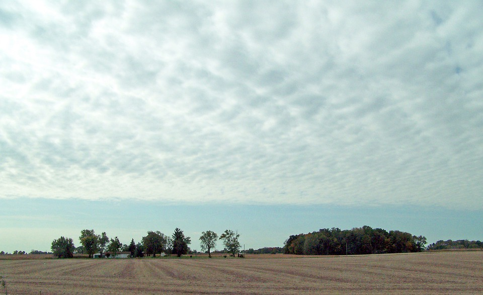 Indiana, Field, Sky, Clouds, Landscape, Midwest, Usa