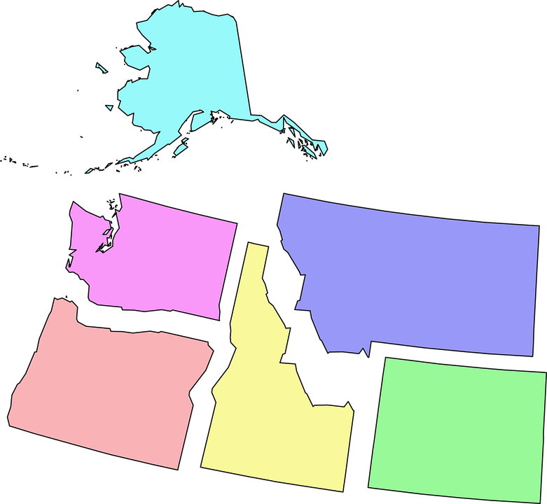 Usa, States, Northwest, Map, Alaska, Washington, Oregon