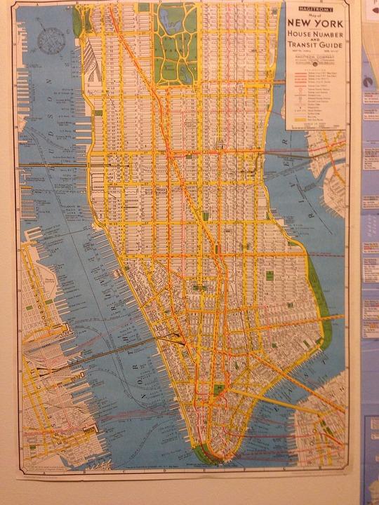 Map, New York, Nyc, York, New, Usa, Geography