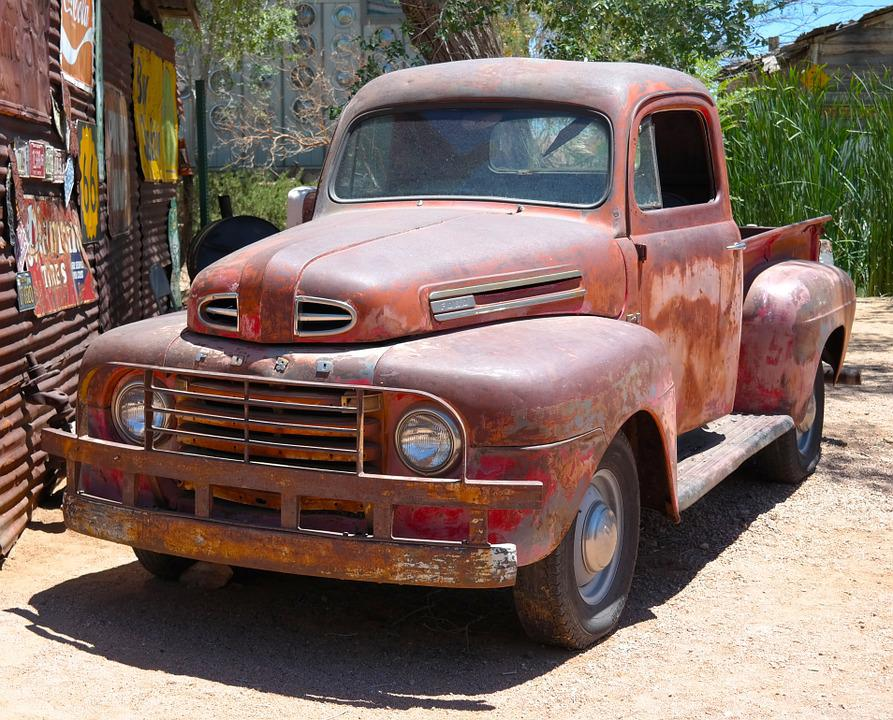Old, Car, Rusty, Truck, Pickup, Red, Summer, Usa