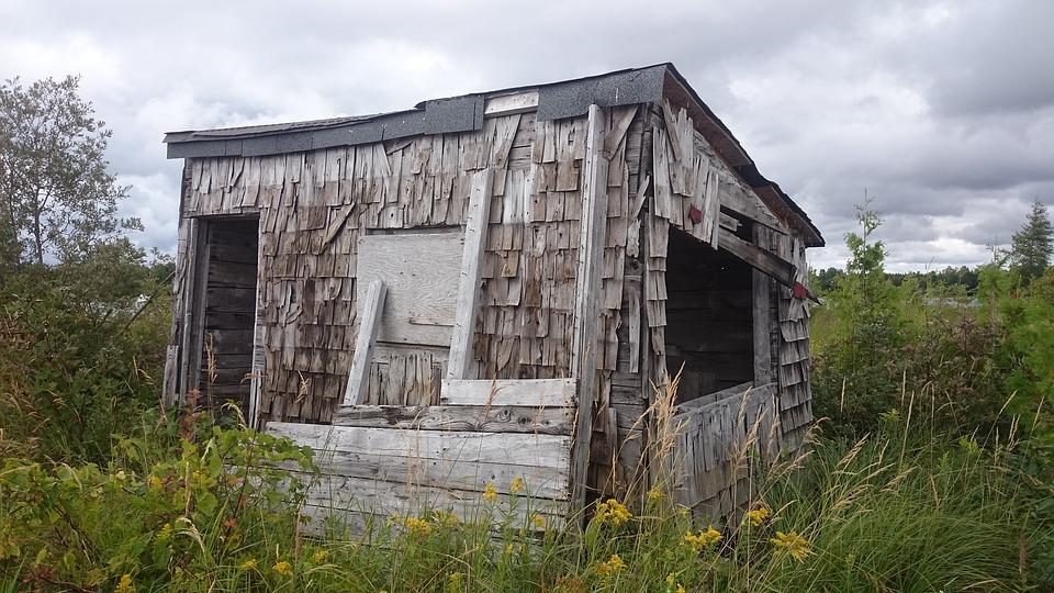 Hut, Leave, Old, Broken, Decay, Ruin, Log Cabin, Usa