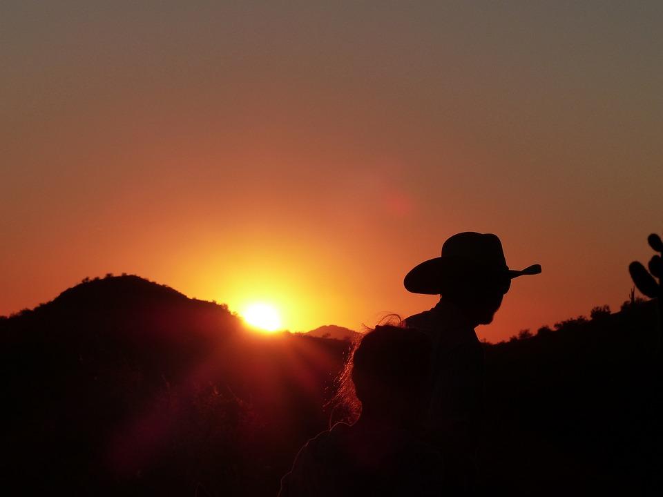 Cowboy, Sunset, Usa, Wild West, Hat