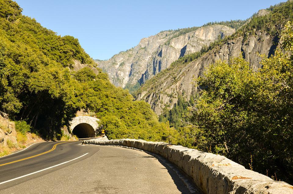 Usa, America, Tunnel, Mountain, Road