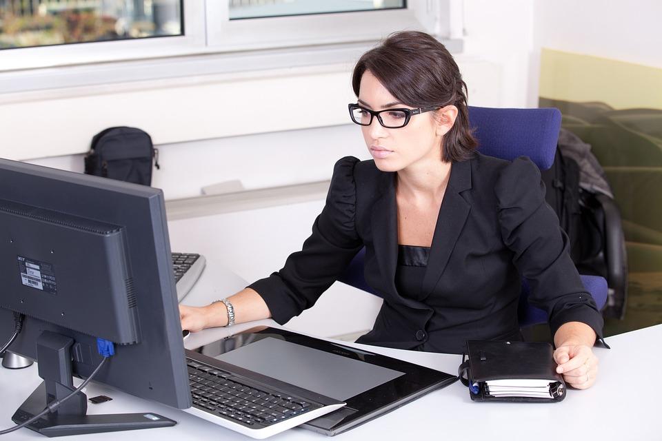 Secretary, Used, Glasses, Beautiful Girl Woman, Work