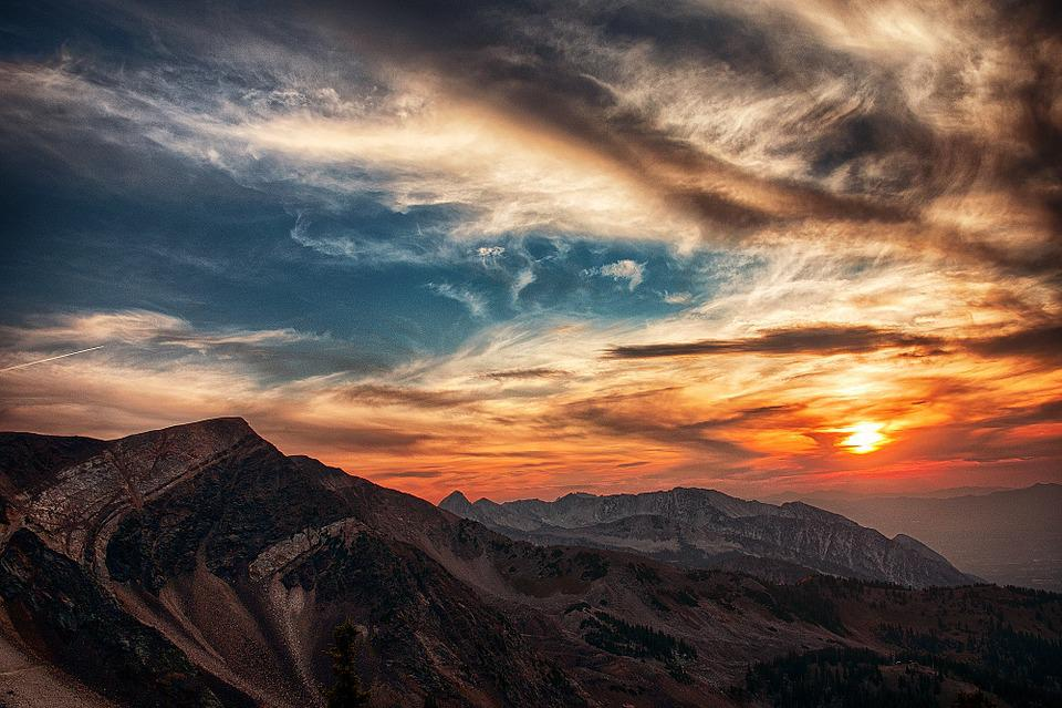 Utah, Mountain, Sky, Nature, Golden Hour, Sunset