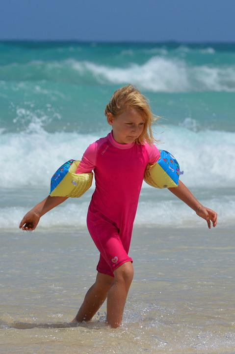 Girl, Beach, Sea, Rubber Rings, Uv Suit, Child, People