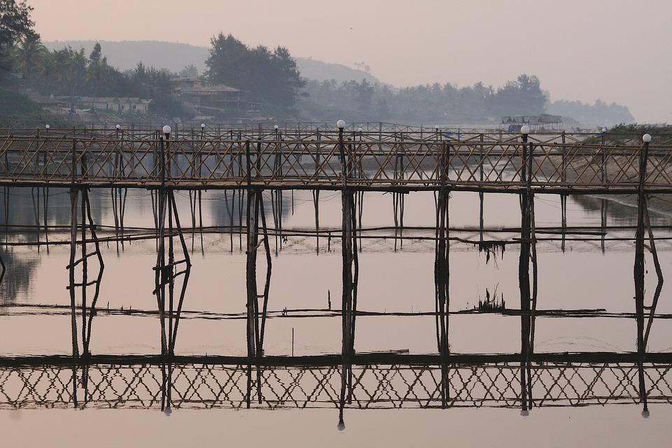 Bridge, Wooden Bridge, Bamboo Bridge, Ocean, Vacation
