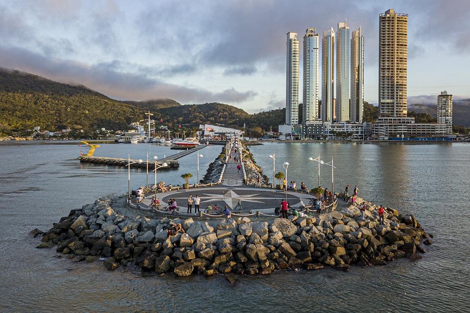 City, Breakwater, Ocean, River, Tourism, Vacation
