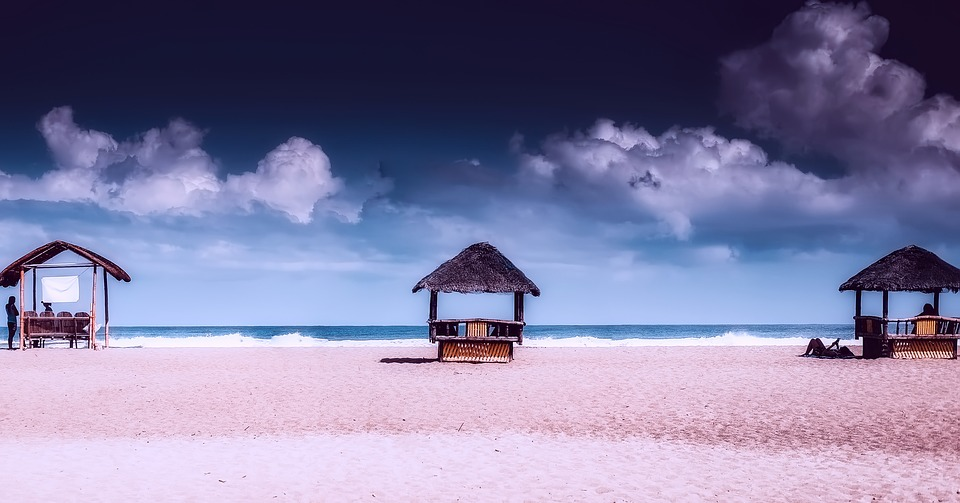 Philippines, Sky, Clouds, Huts, Beach, Sand, Vacation
