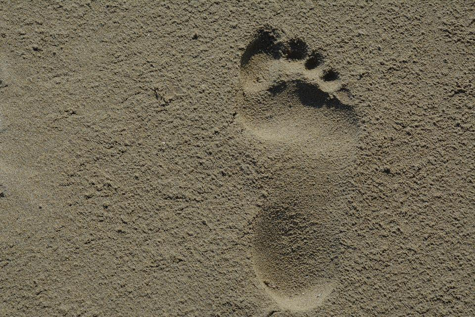 Footprint, Sand, Beach, Traces, Vacations, Summer