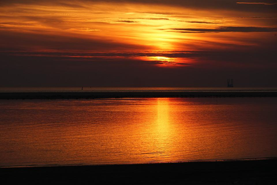 Sunset Borkum, Dusk, Sandbar, Sun, Waters, Vacations