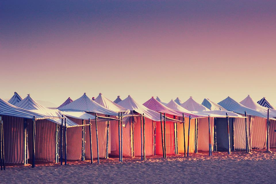 Portugal, Sun, Beach, Tent, Sea, Sunset, Vacations