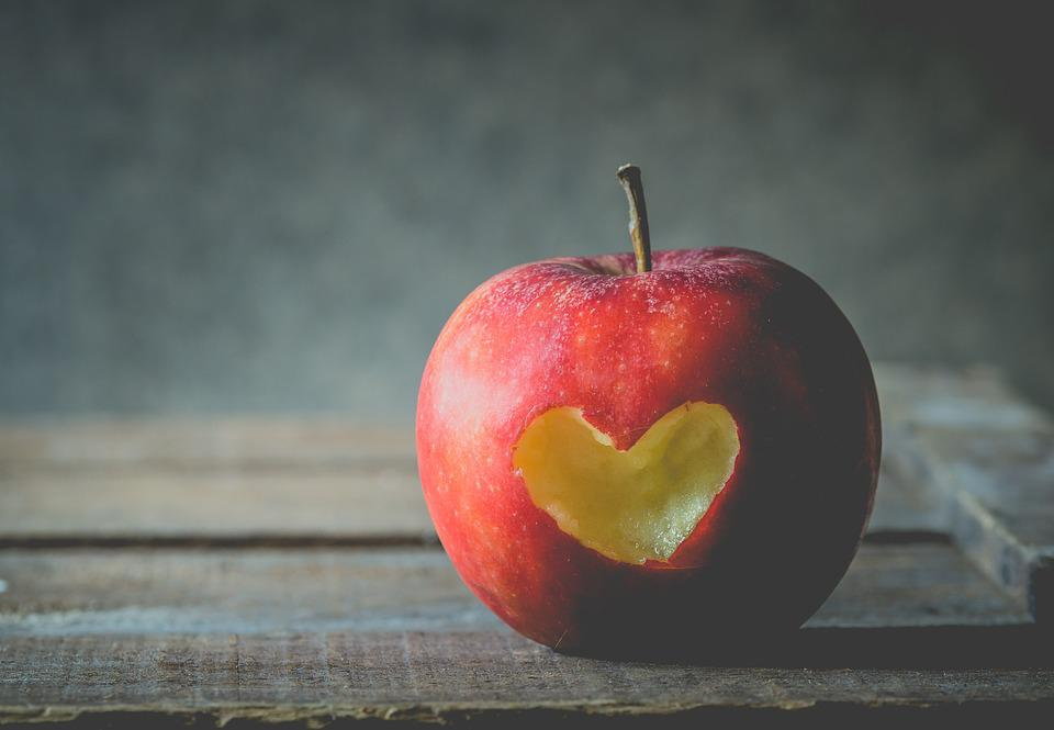 Apple, Fruit, Love, Valentine, Heart Shape, Hearts, Red