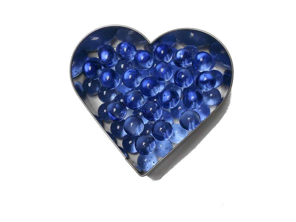 Heart, Blue, Marbles, Design, Valentine, Romantic