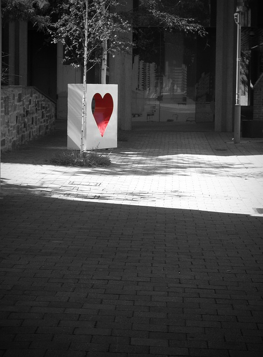 Heart, Red, Black And White, Romance, Valentine