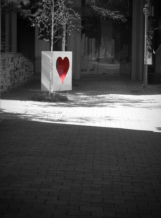 Heart, Red, Black And White, Romance, Valentine