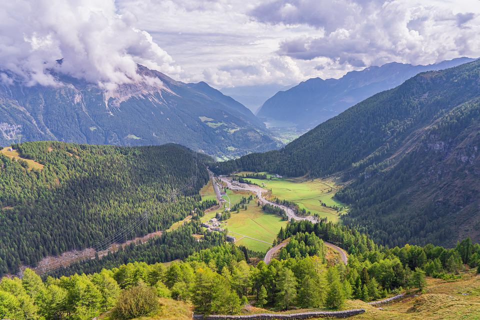 Mountains, Valley, Alpine, Clouds, Panorama, Nature