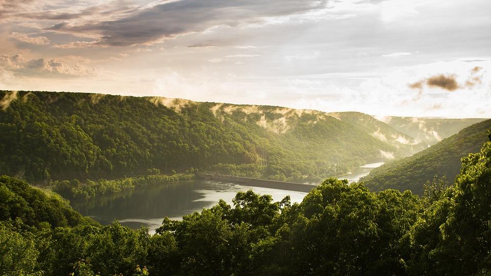 Dam, Valley, Sky, Clouds, Storm, Mist, Reservoir, Lake