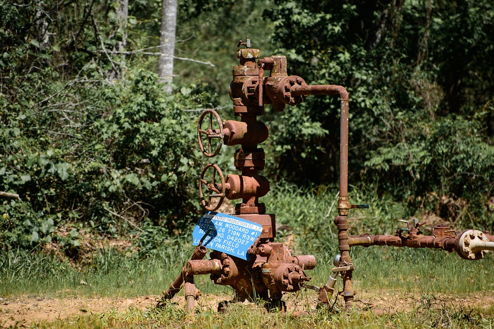 Gas Line, Industrial, Oilfield, Rust, Old, Pipes, Valve