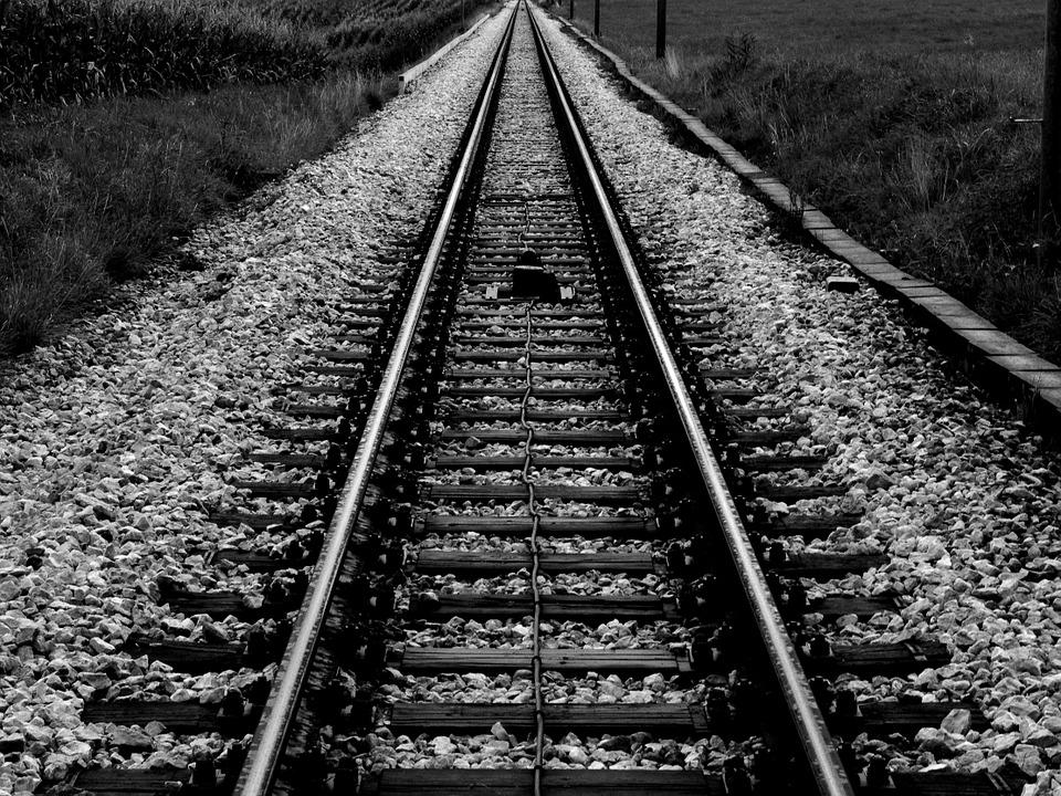 Train, Tracks, Rails, Vanishing Point, Symmetry