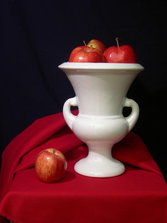 Still-life, Apples, Vase, Fruit, Red
