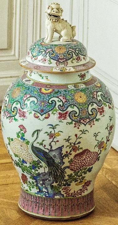 Vase, Peacock, Lion, Chinese Vase, Verziehrung